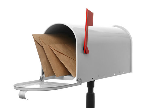 Mail box with letters on white background