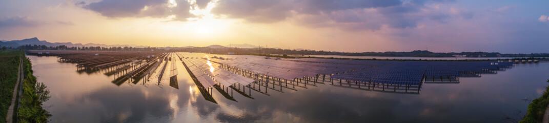 Foto auf Leinwand Lavendel Solar power generation scene