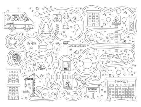Medical maze for children on black background. Preschool medicine activity. Funny puzzle game with cute emergency car and clinic. Help the ambulance get to the hospital..
