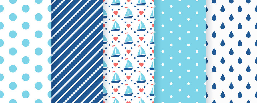 Marine seamless pattern. Vector. Nautical, sea backgrounds with sailboat, polka dots, stripes star and drops. Set summer texture. Geometric blue print for baby shower, scrapbooking. Color illustration