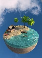 Obraz Wyspa. Samotne miejsce z dala od ludzi. Wakacje. Izolacja. Concept art. Ilustracja 3D - fototapety do salonu