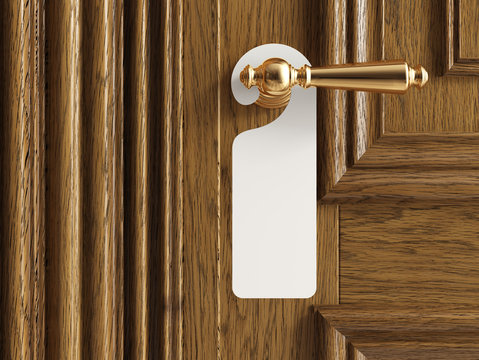 """Luxury classic door with empty label """"do not disturb"""". Clipping path included. 3d illustration."""