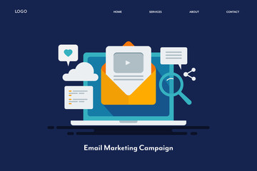 Video email campaign, email newsletter with video marketing strategy, email promotion for more customer engagement, internet technology concept. Flat design web banner template for social, blog. Fotobehang