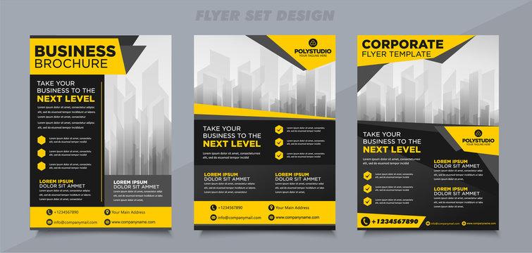 Business Flyer set brochure leaflet yellow color