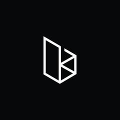 Minimal elegant monogram art logo. Outstanding professional trendy awesome artistic B BK KB initial based Alphabet icon logo. Premium Business logo White color on black background