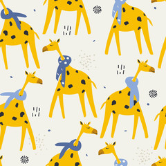 Door stickers Bestsellers Kids Giraffes in scarves, hand drawn backdrop. Colorful seamless pattern with animals. Decorative cute wallpaper, good for printing. Overlapping background vector. Design illustration