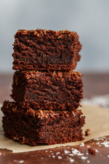 Fresh baked homemade vegan brownie with ground coconut and chocolate slices cut in square servings . Delicious American dessert close up. Selective focus