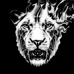 Tiger head with creative abstract element on dark background
