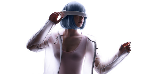 Wall Mural - Beautiful woman with blue hair in futuristic costume over white background. Girl in glasses of virtual reality. Augmented reality, game, future technology, AI concept. VR.