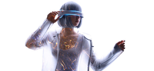Wall Mural - Beautiful woman with blue hair in futuristic costume over white background. Girl in glasses of virtual reality. Augmented reality, game, future technology, AI concept. VR. Fire flares.