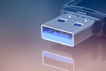 USB Flash Drive closeup. Personal Information Cyber Security Concept Wall mural