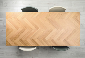 Modern office table with chairs, top view