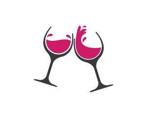 Fototapeta wine glasses toasting logo icon vector obraz
