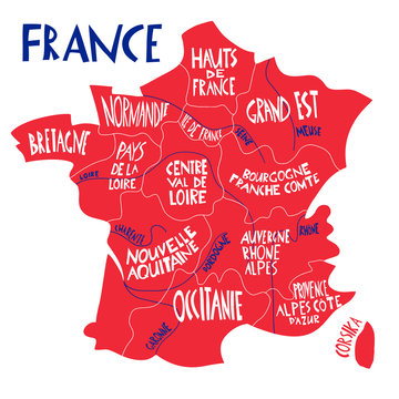 Vector hand drawn stylized map of France. Travel illustration with french regions, cities names. Hand drawn lettering illustration. Europe map element