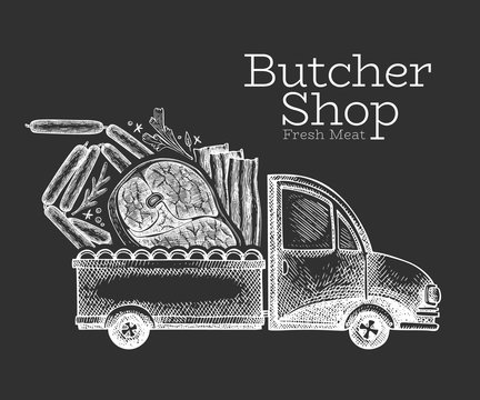 Butcher shop delivery logo template. Hand drawn vector truck with meat illustration. Engraved style retro food design.