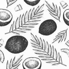 Coconut with palm leaves seamless pattern. Hand drawn vector food illustration. Engraved style exotic plant. Vintage botanical tropical background.
