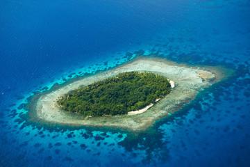 Acrylic Prints Island Aerial view of uninhabited island
