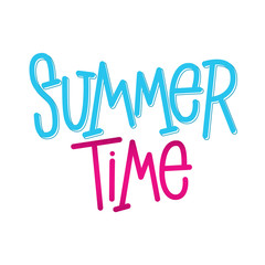Summer Time. Hand lettering sign for store. Vector typographic design element for banner, social media, card, print, poster.