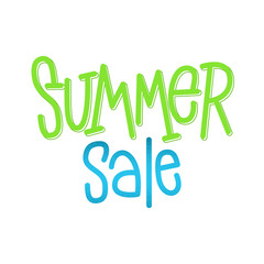 Summer Sale. Hand lettering sign for store discount. Vector typographic design element for banner, social media, card, print, poster.