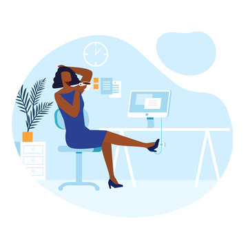 Break from Work, Lunchtime Vector Illustration. Relaxed Office Worker, Businesswoman Cartoon Character. Young African American Woman Drinking Coffee. Freelance, Remote Job, Freelancer Workspace