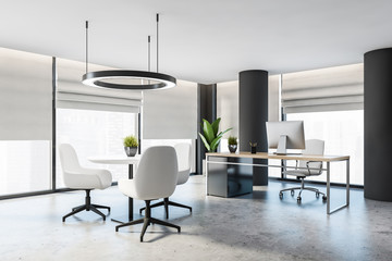Gray CEO office with columns and round table