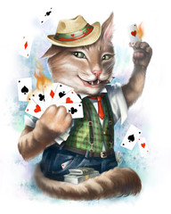Cat card sharper plays cards in the casino. On white background. Digital illustration.
