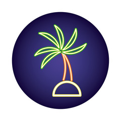 Wall Mural - tree palm neon light style icon