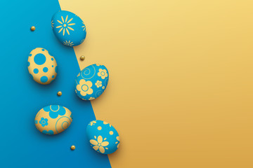 easter eggs on colorful background. top view