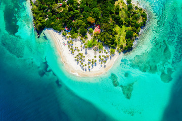 Printed roller blinds Island Aerial drone view of beautiful caribbean tropical island Cayo Levantado beach with palms. Bacardi Island, Dominican Republic. Vacation background.