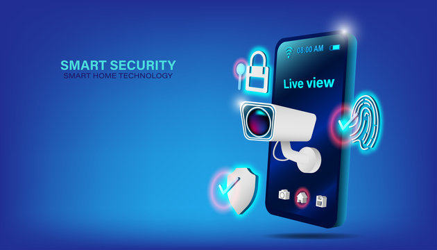 Smart home security technology concept. Isometric smartphone and house with iot wireless icons electronics on blue background. Vector illustration in 3d style.