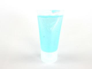 Keuken foto achterwand Bar Light blue hand washing gel isolated on a white background.