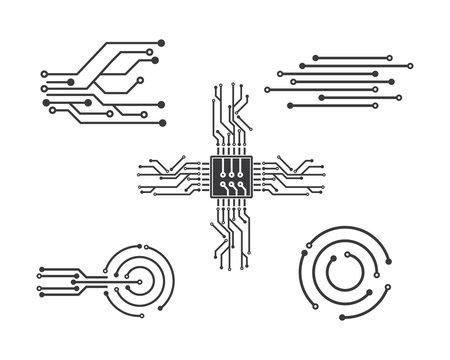 circuit board line,cpu,chip icon logo illustration vector