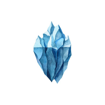 Blue iceberg watercolor illustration isolated on white background. Northern sea element. hand drawn clipart for clothes, stickers, baby shower, cards, prints, fabrics.