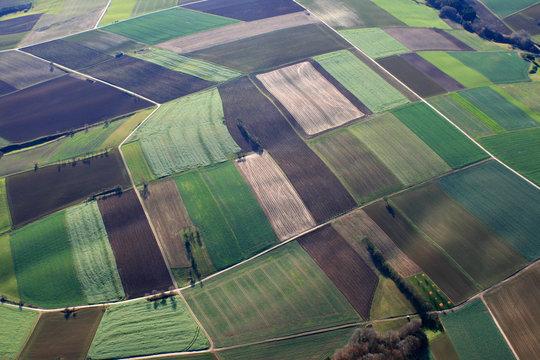 Luftbild von Ackerflächen