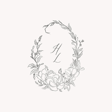 line drawing vector floral wreath, oval frame with hand drawn magnolia flowers, branches, leaves, plants, herbs. Botanical illustration. Leaf logo. Wedding invitation, monogram