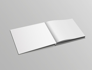 Vector realistic mockup pages of open book, landscape orientation in hardback.