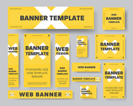 Set of yellow vector web banner templates with white cross and black text.