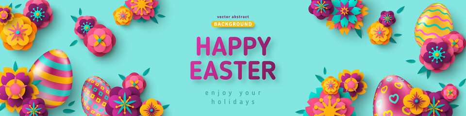 Easter horizontal banner with ornate eggs and paper cut flowers on blue background. Vector illustration. Place for your text. Greeting card trendy design or invitation template