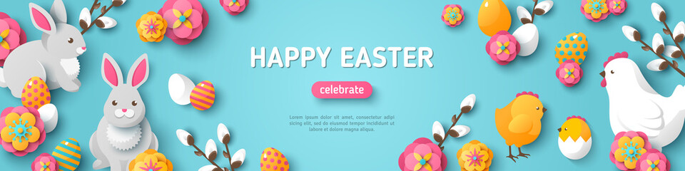 Happy Easter Blue Horizontal Banner. Vector Illustration. Spring Holiday Background, Place for Text. Flat Icons - Chicken, Rabbit, Flowers and Colorful Eggs