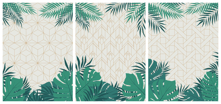 Creative set of elegant brochures with tropical leaves and plants on a white geometric pattern in art deco style, vector cards and flyers