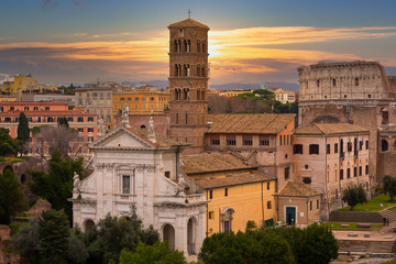 Architecture of the old town in Rome at sunset, Italy