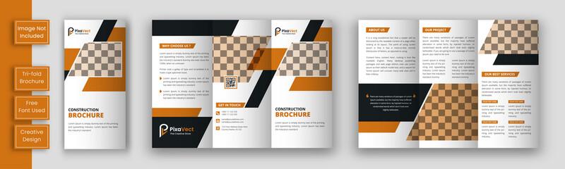 Construction  trifold brochure template design, Construction  business trifold brochure template, Real estate brochure