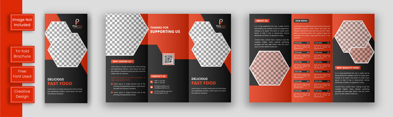 Restaurant tri fold brochure template, Food brochure template design