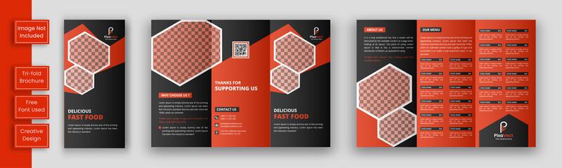 Restaurant tri fold brochure template, Food brochure template design