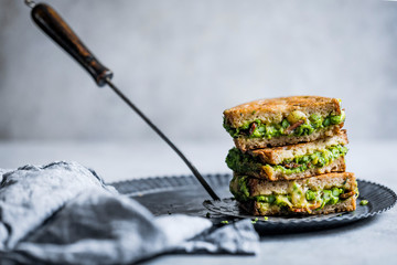 Pancetta and spring green grilled cheese toastie Wall mural