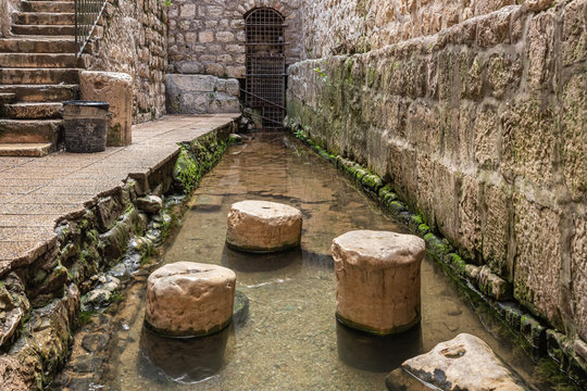 The Pool of Siloam in Silwan, the Arab suburb of Jerusalem in Israel