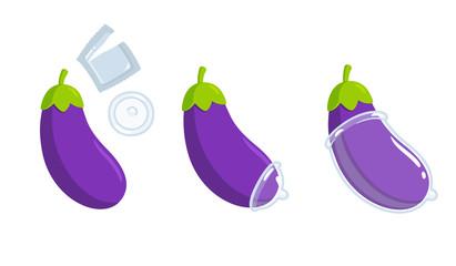 Putting condom on eggplant