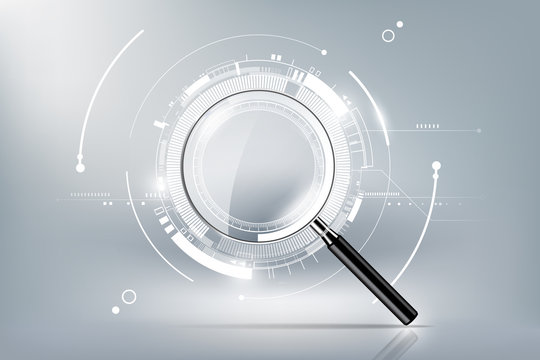 magnifying glass with scan search concept and futuristic electronic technology background, transparent vector illustration