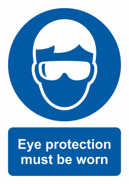 Safety sign, Eye protection must be worn. Vector icon isolated on white background.