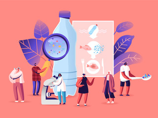 Microplastic in Water and Food. Global Ocean Pollution. Ecological Problem. Dangerous Additives. Male Female Tiny Characters with Microscope and Magnifying Glass. Cartoon People Vector Illustration